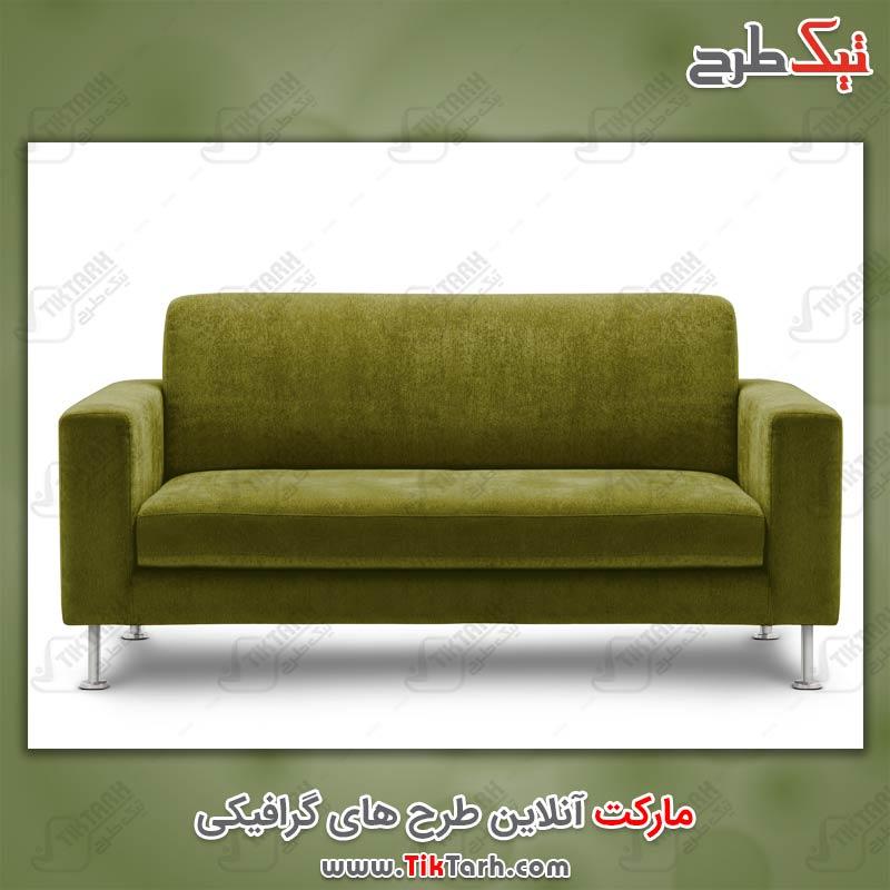 عکس با کیفیت مبل سه نفره سبز