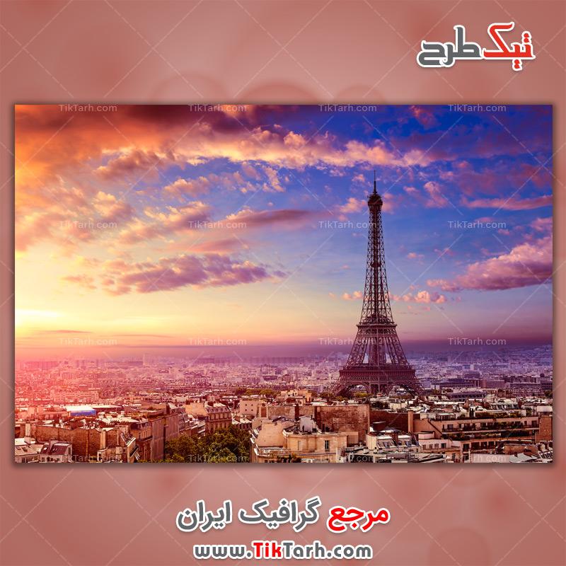 دانلود تصویر لارج فرمت برج ایفل و افق پاریس