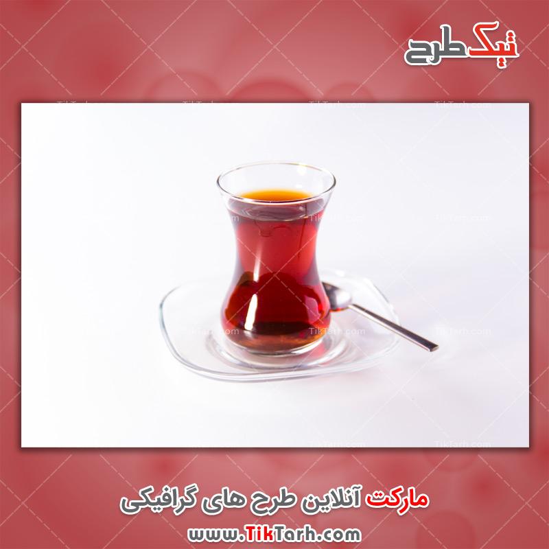 دانلود عکس با کیفیت چای در فنجان کمر باریک