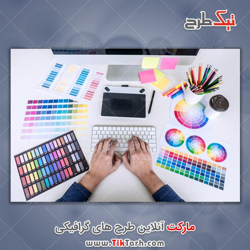دانلود عکس با کیفیت طراح خلاق طراحی گرافیکی رنگی محل کارر