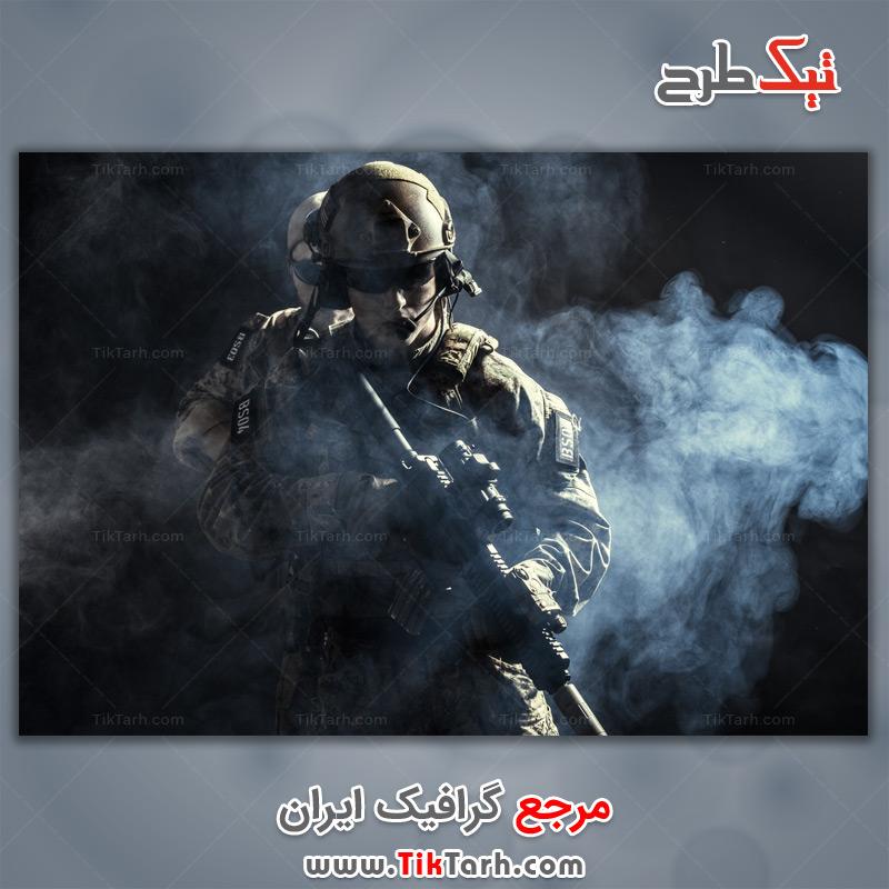 دانلود عکس با کیفیت سرباز امنیتی با تفنگ