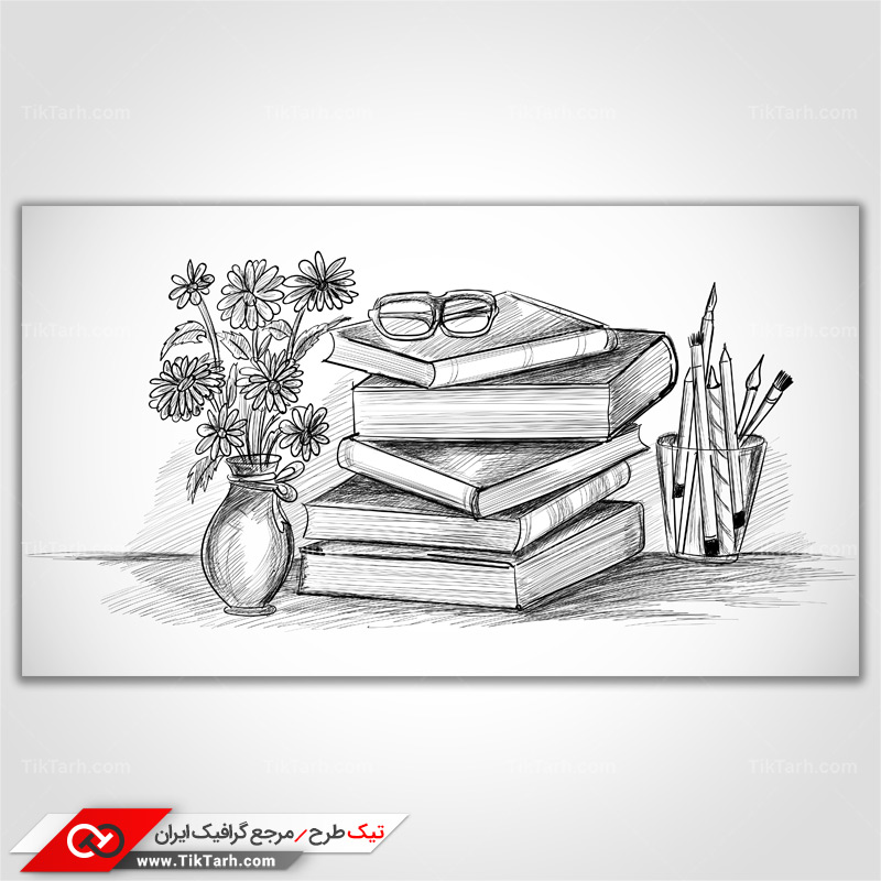 دانلود پس زمینه طراحی با طرح نقاشی کتاب