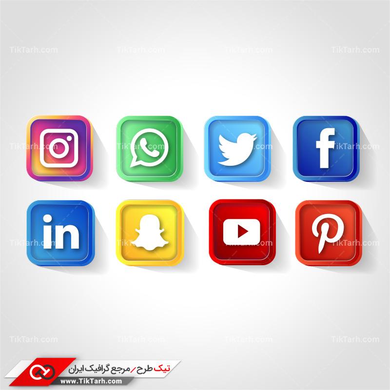 طرح آماده لایه باز مربع های رنگی شبکه های اجتماعی