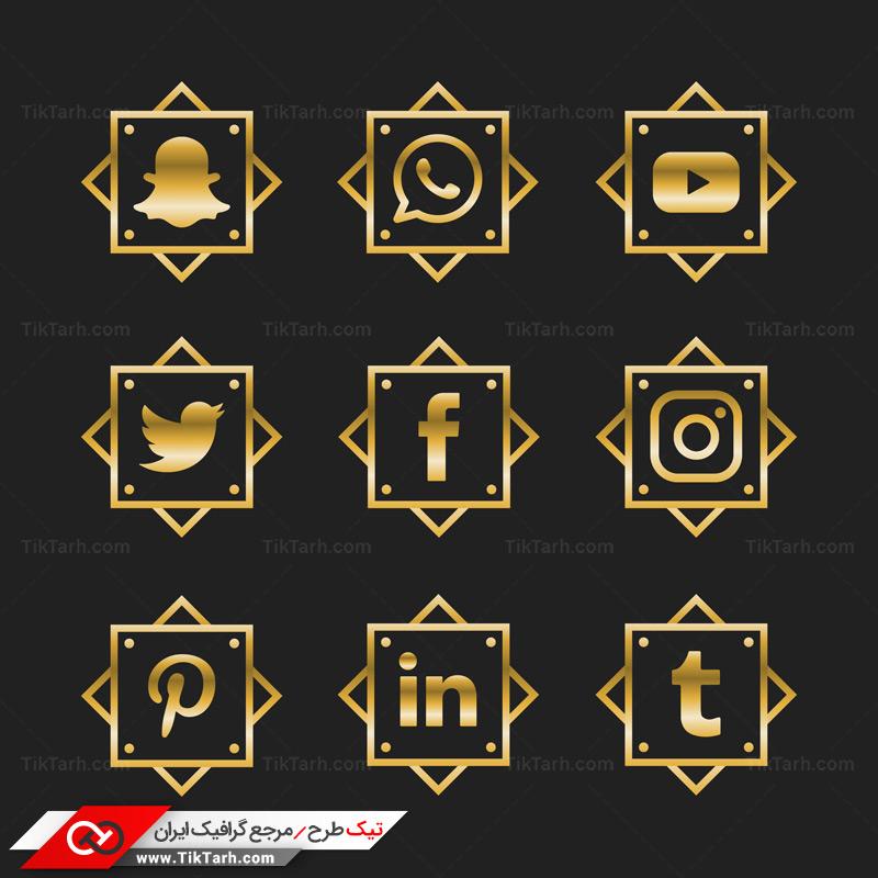 طرح آماده لایه باز مربع های طلایی لوکس شبکه های اجتماعی