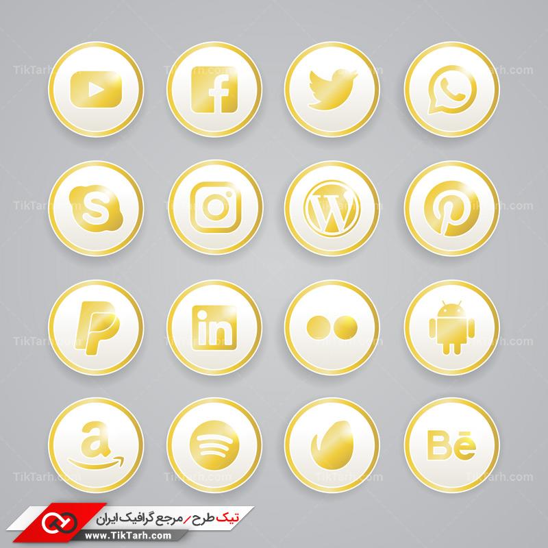طرح آماده لایه باز دایره های سفید و طلایی شبکه های اجتماعی