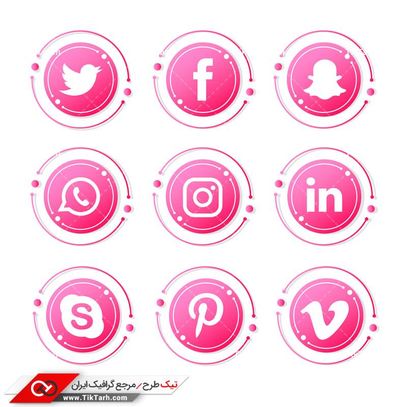 طرح آماده لایه باز آیکون های صورتی شبکه های اجتماعی