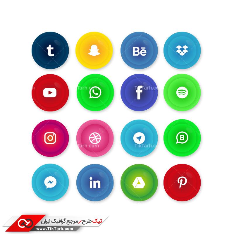 طرح آماده لایه باز دایره های رنگارنگ شبکه های اجتماعی