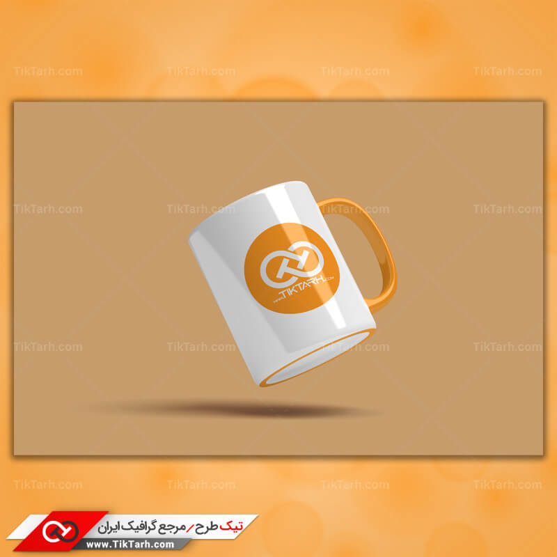 طرح لایه باز موکاپ لیوان سفید با دسته نارنجی