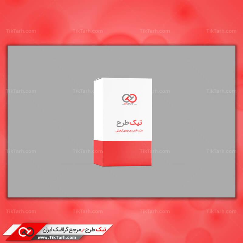 دانلود موکاپ جعبه مقوایی سفید و قرمز