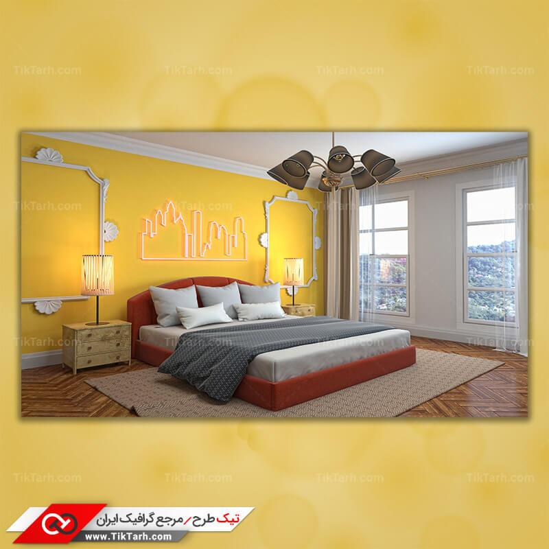 دانلود تصویر با کیفیت تخت و اتاق خواب و آباژور