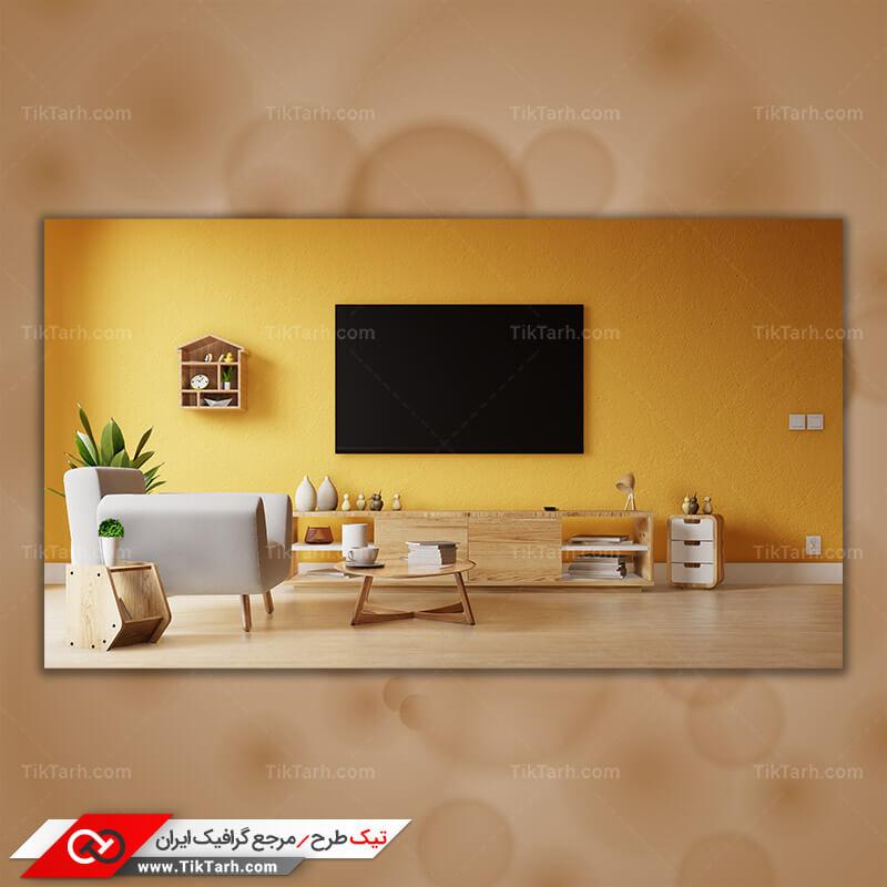دانلود تصویر گرافیکی تلویزیون و میز دکوری چوبی