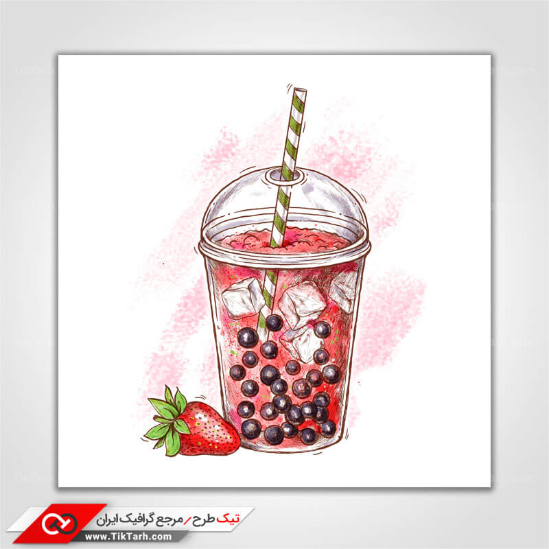 دانلود کلیپ آرت نوشیدنی توت فرنگی