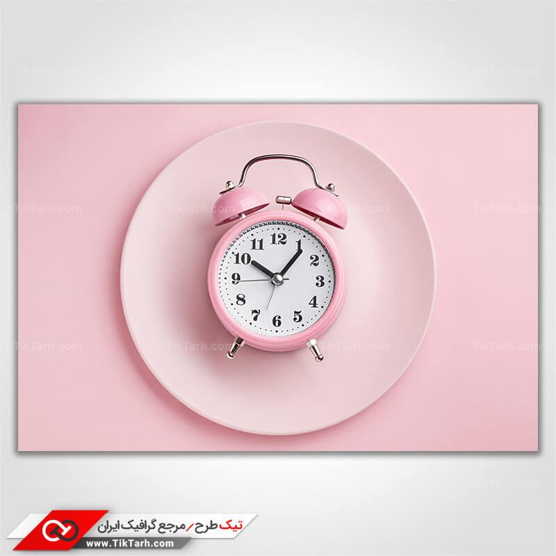 دانلود عکس با کیفیت ساعت رومیزی صورتی