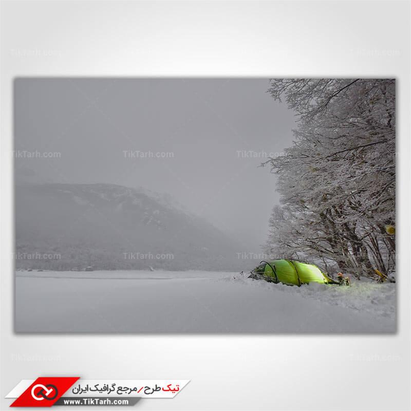 دانلود تصویر با کیفیت کوهستان و چادر مسافرتی