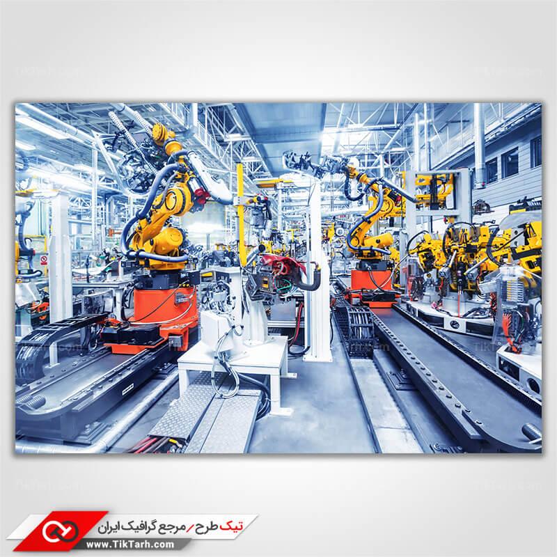 دانلود تصویر با کیفیت ربات های کارگر در کارخانه