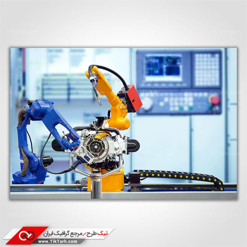 تصویر با کیفیت ربات های صنعتی با تکنولوژی بالا