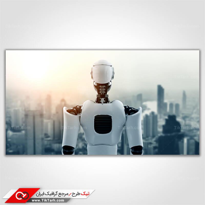 تصویر با کیفیت ربات انسان نما با زمینه شهر