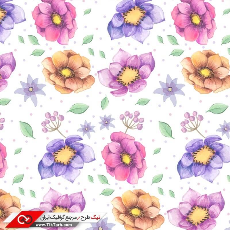دانلود پترن لایه باز با طرح گلهای بنفش و صورتی