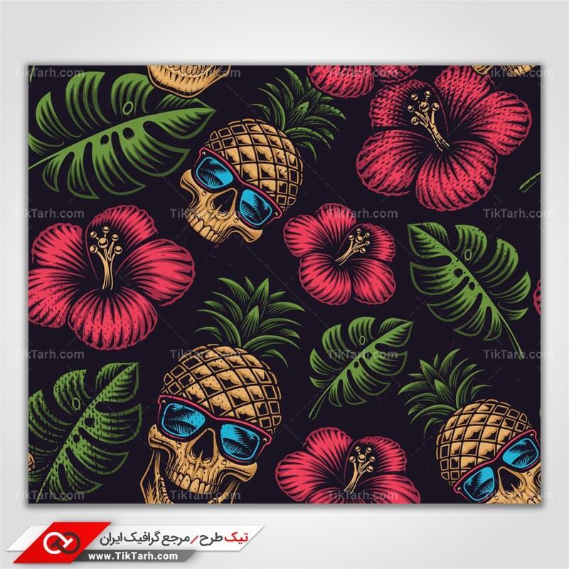 دانلود پترن لایه باز با طرح گلهای قرمز و آناناس