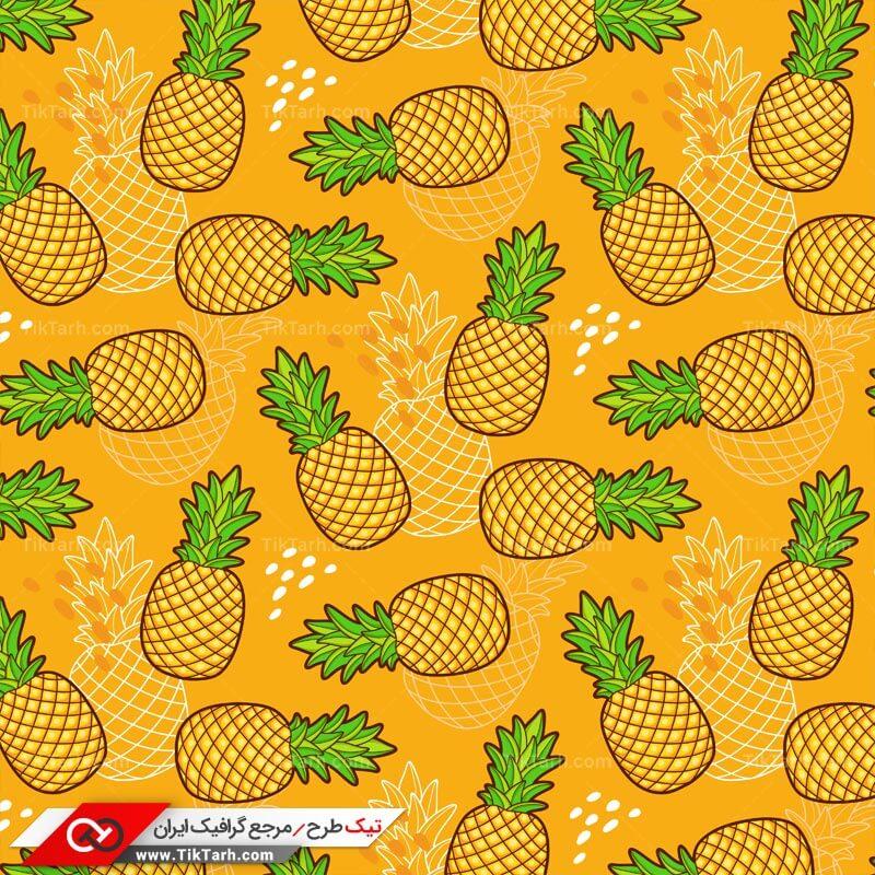 دانلود پترن لایه باز با طرح آناناس با پس زمینه نارنجی