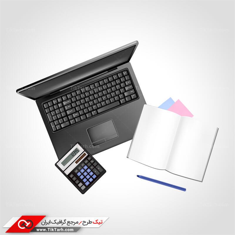طرح لایه باز کلیپ آرت لپ تاپ و دفتر