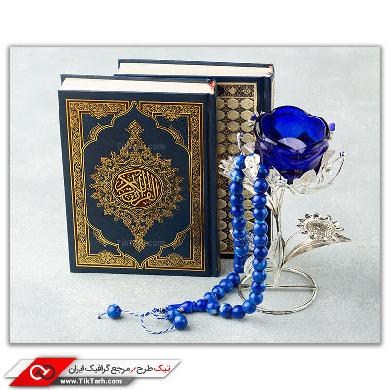 دانلو تصویر با کیفیت کتاب قرآن و گل و تسبیح