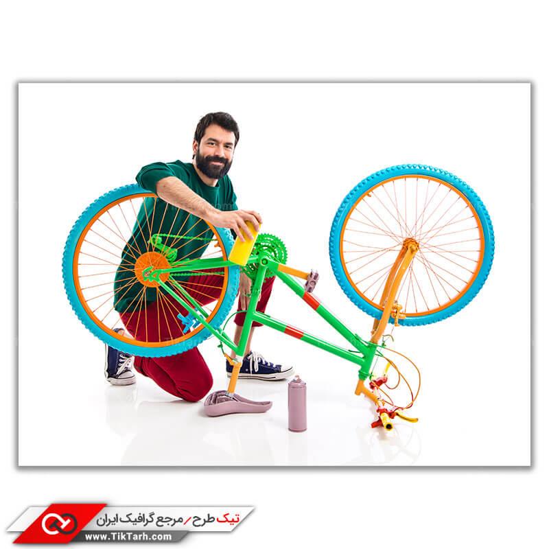 تصویر بسیار با کیفیت رنگ کاری دوچرخه