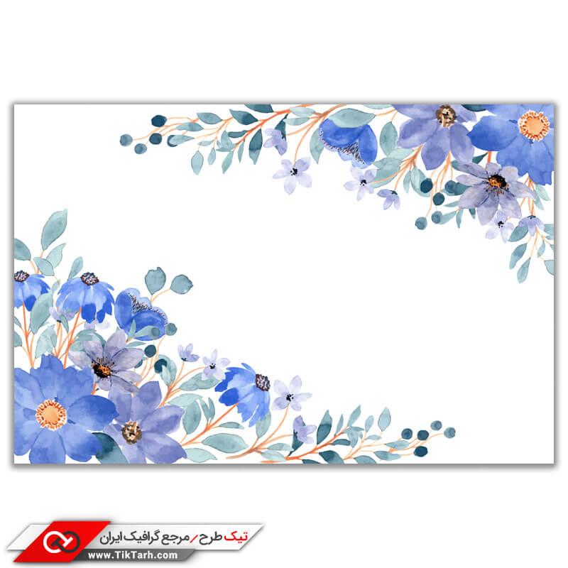 طرح گرافیکی پس زمینه طرح گل های آبی