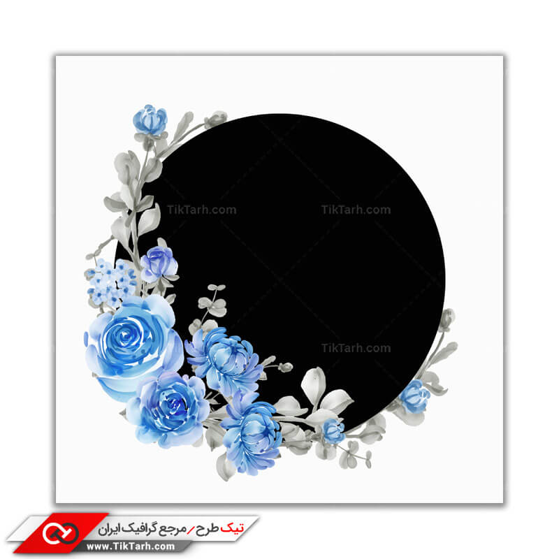 پس زمینه طراحی دایره مشکی با حاشیه گل