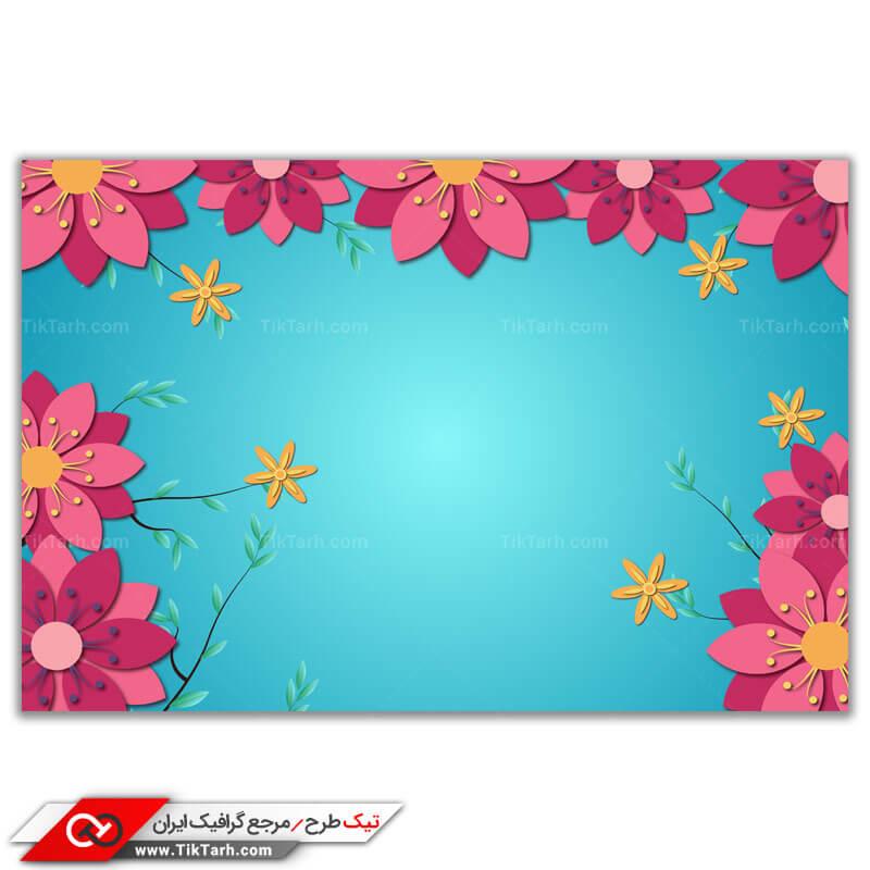 پس زمینه طراحی گل های صورتی با زمینه آبی