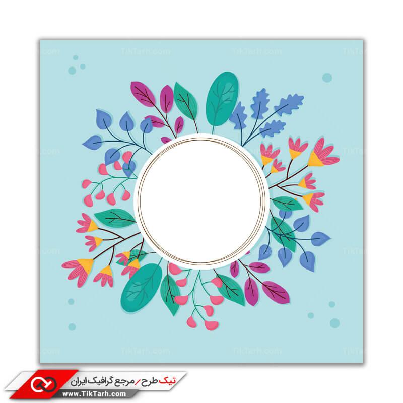 پس زمینه طراحی دایره با حاشیه برگ و گل