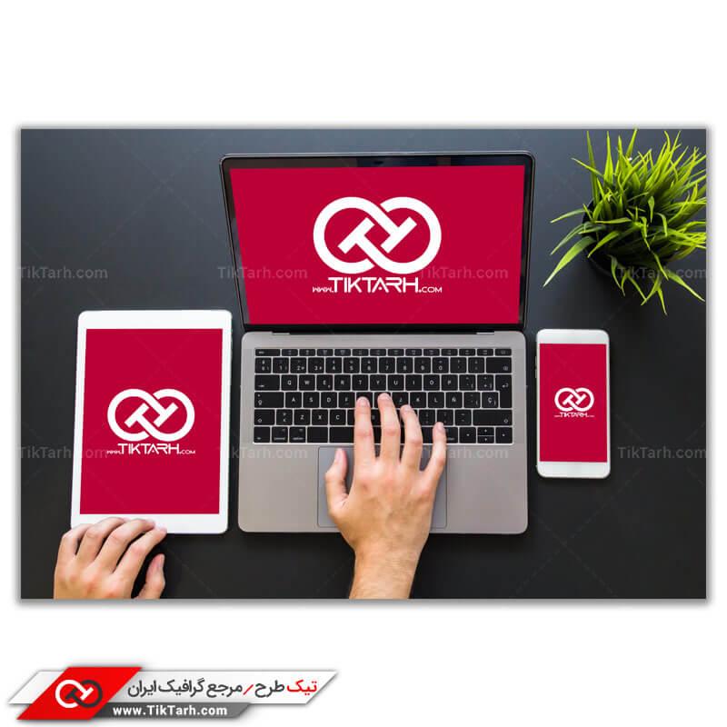 طرح گرافیکی موکاپ لپ تاپ و موبایل و تبلت
