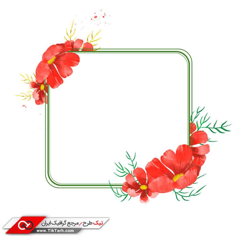 طرح لایه باز با طرح کادر مربع و گلهای قرمز
