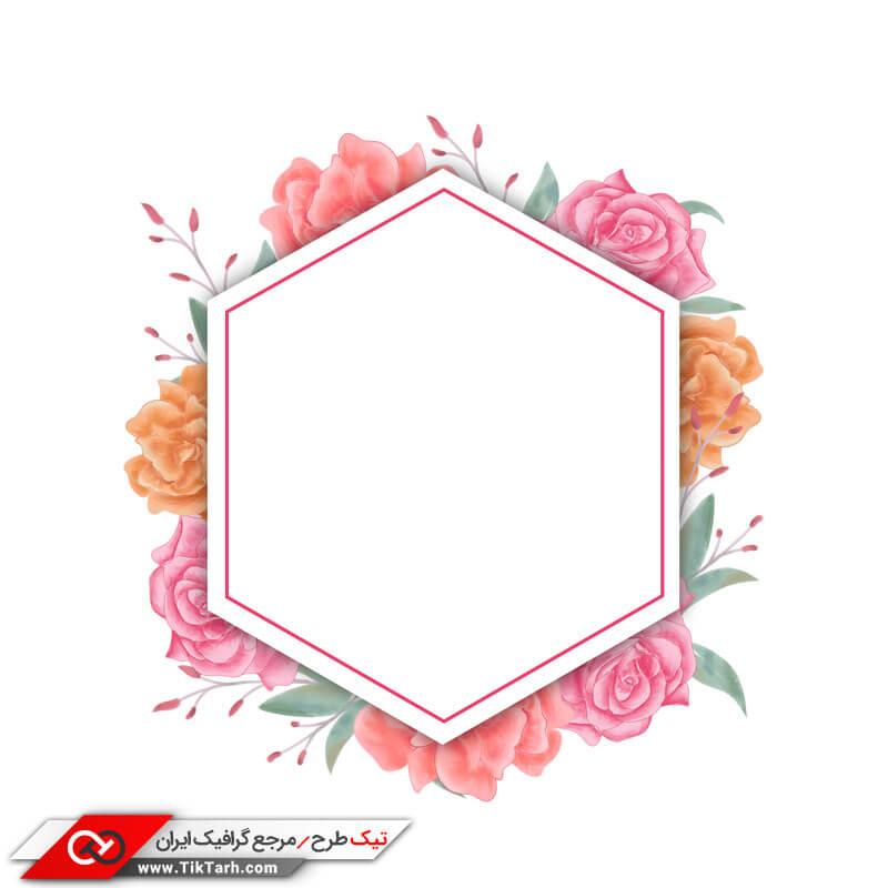 طرح لایه باز با کادر شش ضلعی و گلهای رز