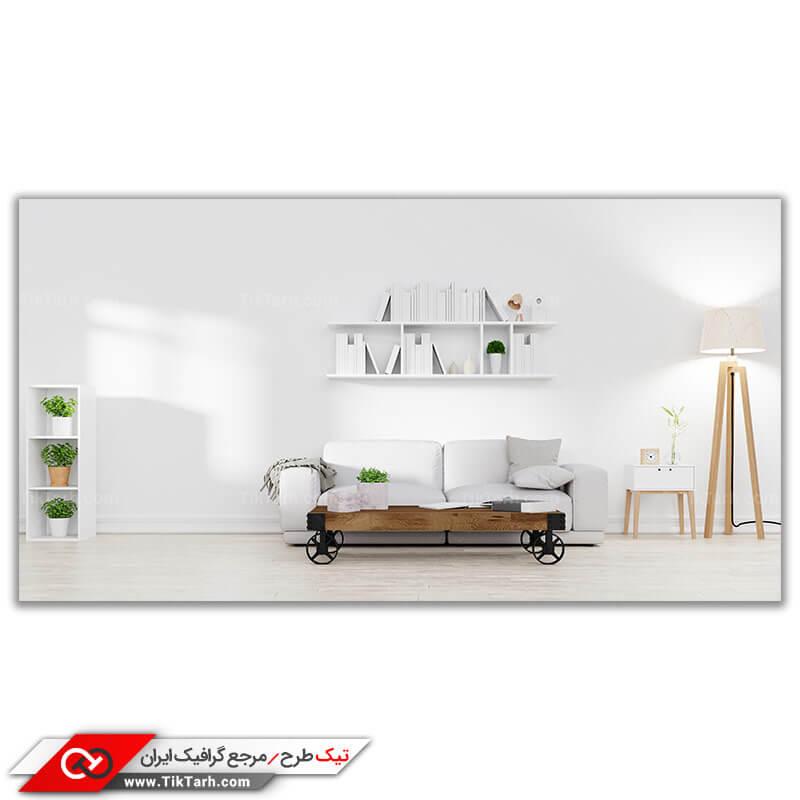 تصویر با کیفیت دکوراسیون داخلی با تم سفید