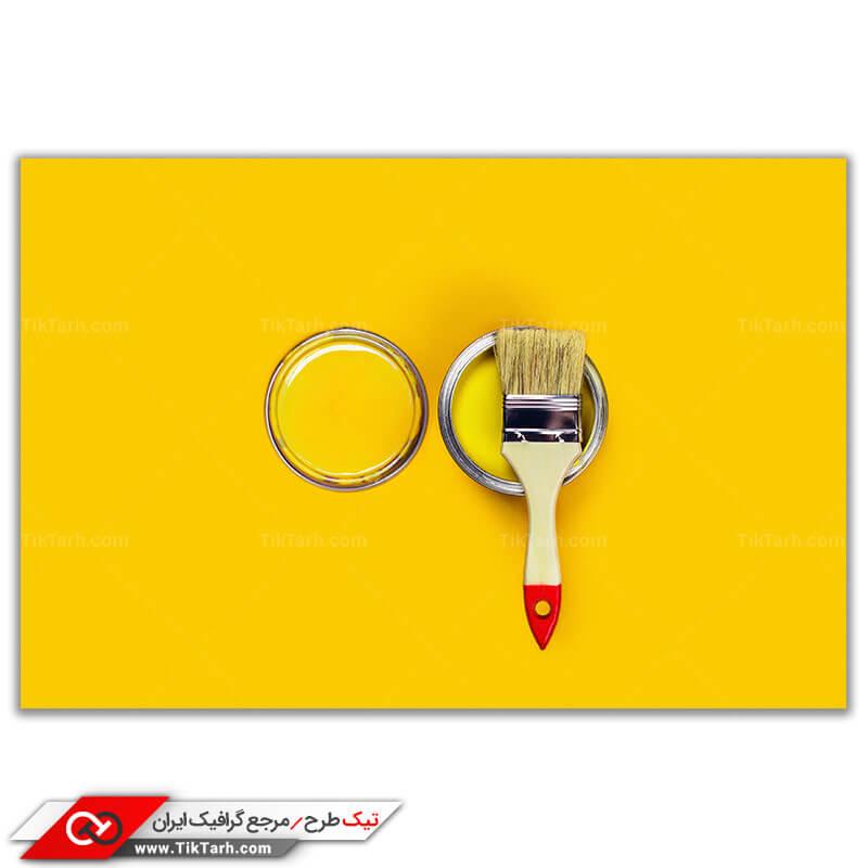 تصویر با کیفیت قلموی نقاشی ساختمان و رنگ زرد