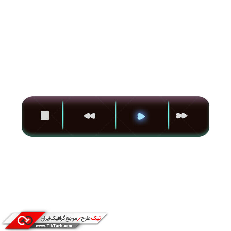 دانلود طرح دکمه های پخش موسیقی با طرح قلب