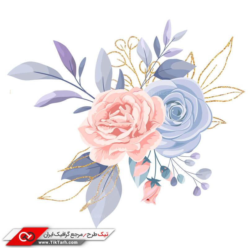 طرح کلیپ آرت گل های آبی و صورتی
