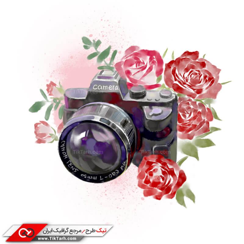 طرح کلیپ آرت دوربین عکاسی و گل های رنگی