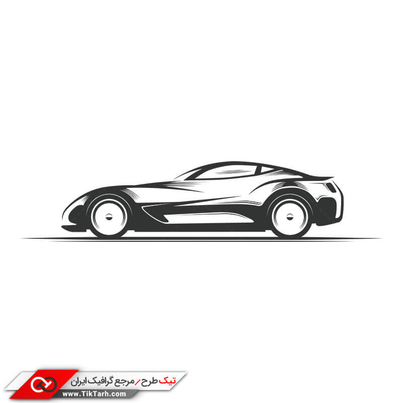 طرح کلیپ آرت نقاشی سیاه و سفید ماشین