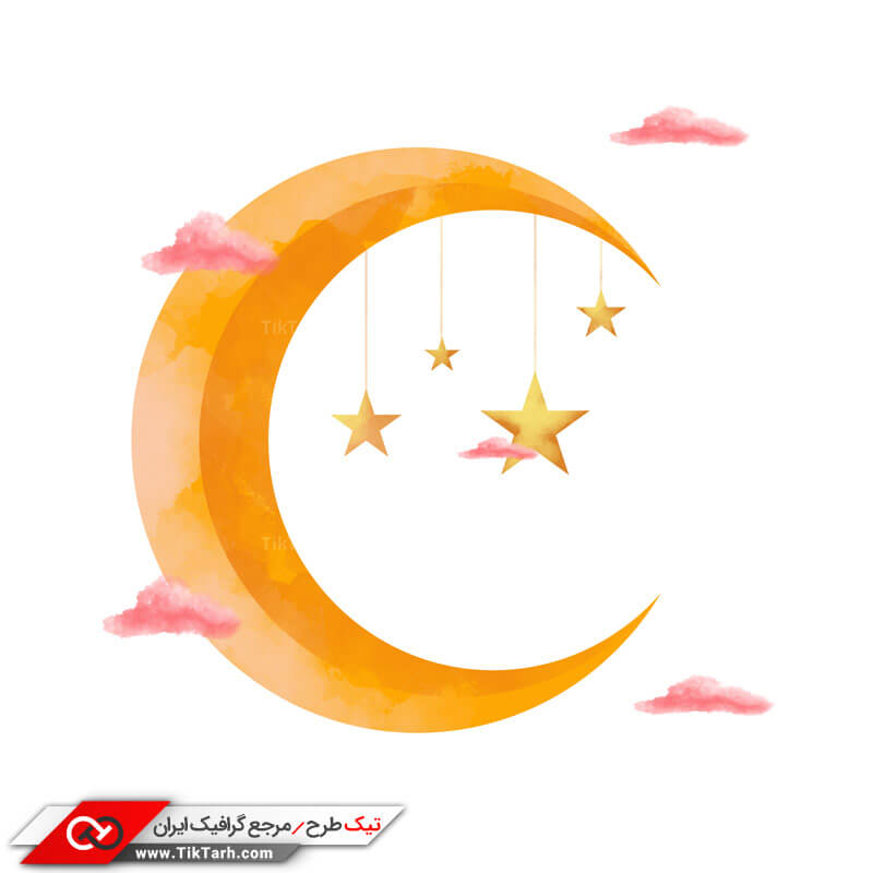 طرح کلیپ آرت هلال ماه در آسمان