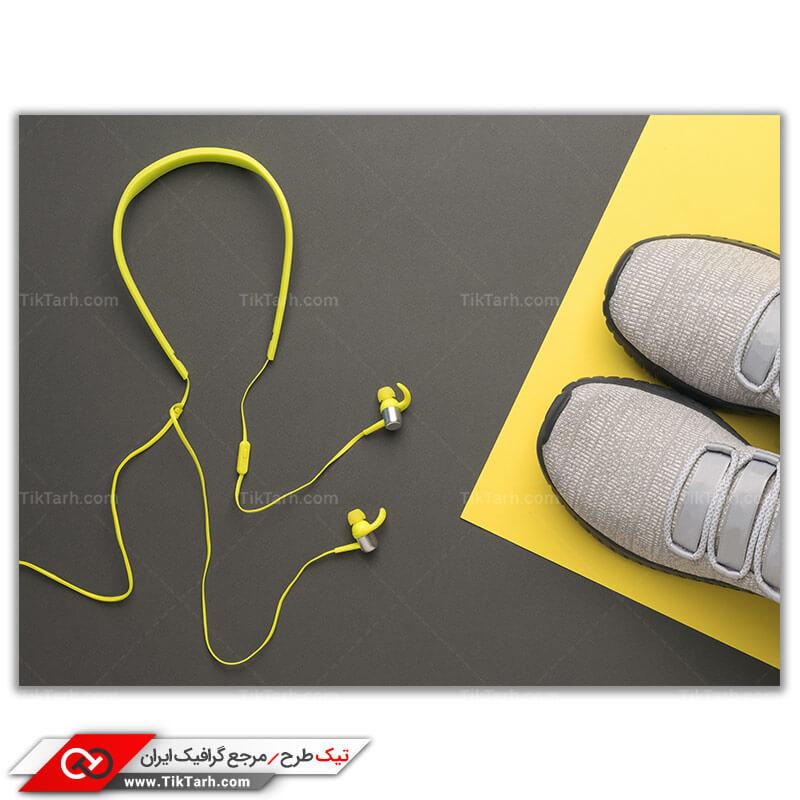 دانلود عکس گرافیکی کفش پیاده روی طوسی