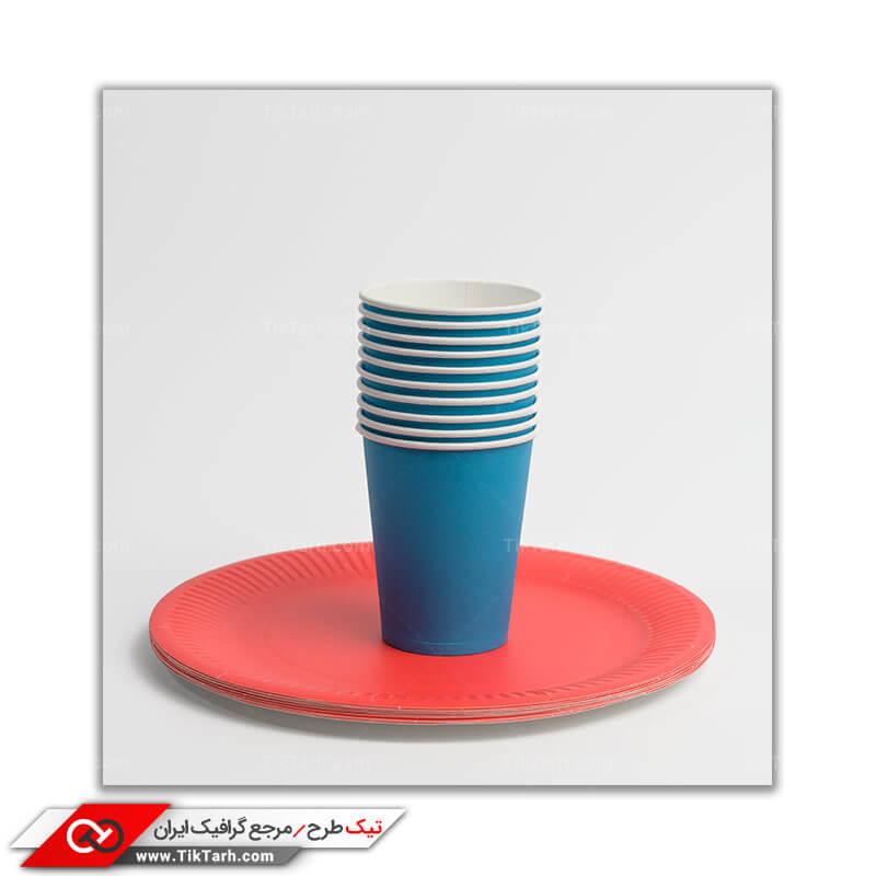 عکس گرافیکی لیوان و بشقاب یکبار مصرف