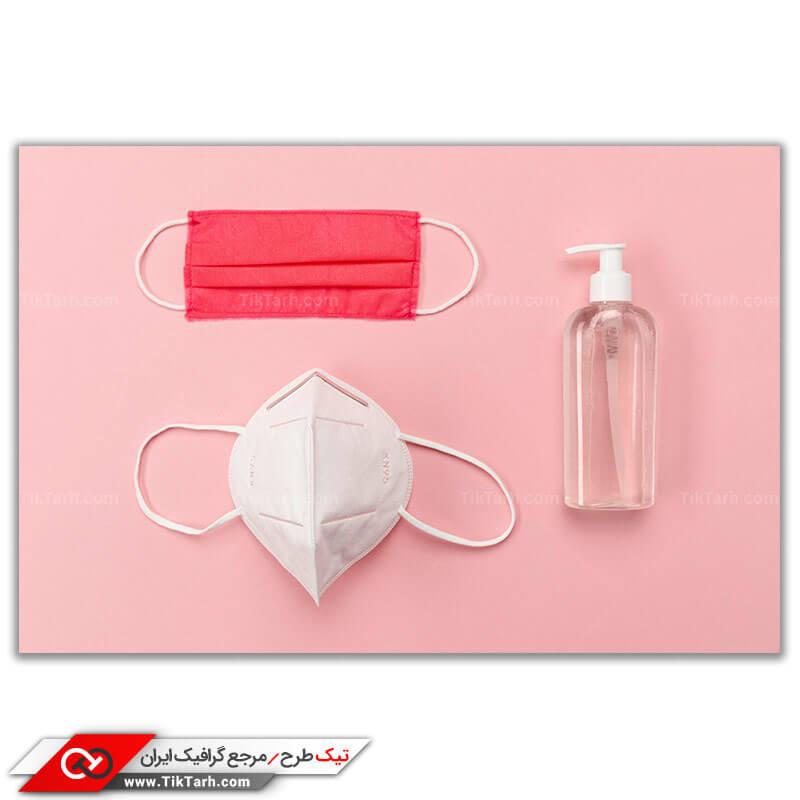 دانلود تصویر با کیفیت ماسک و تجهیزات ضد عفونی کننده