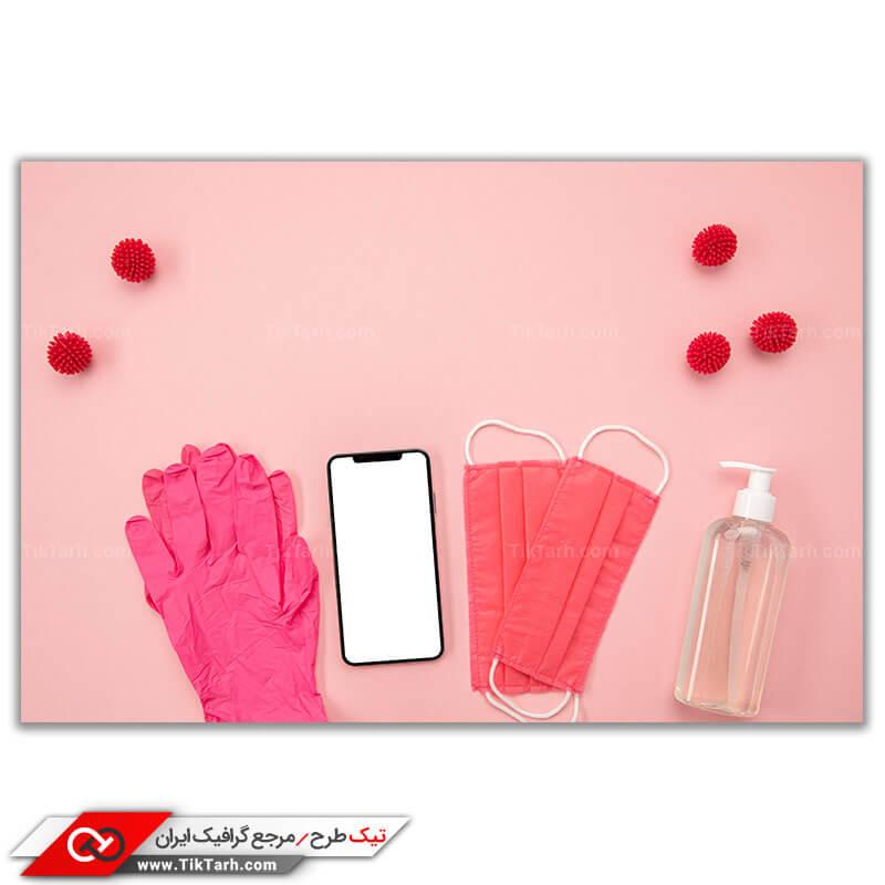 تصویر با کیفیت ماسک دستکش و تجهیزات ضد عفونی کننده