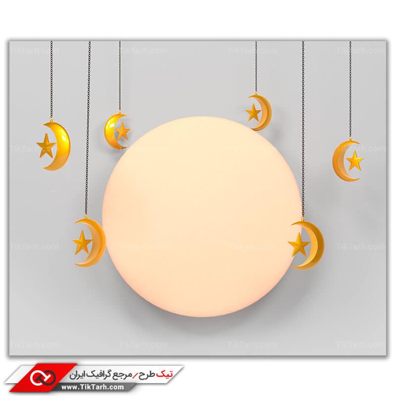 تصویر با کیفیت ماه و هلال های کوچک