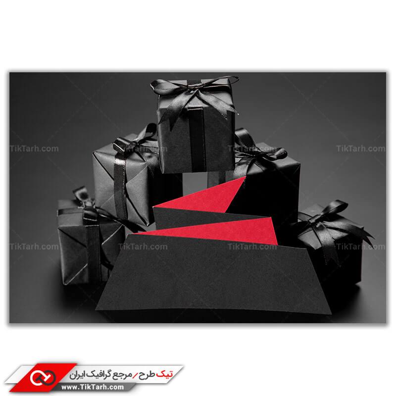 تصویر باکیفیت جعبه کادو های مشکی ربان مشکی
