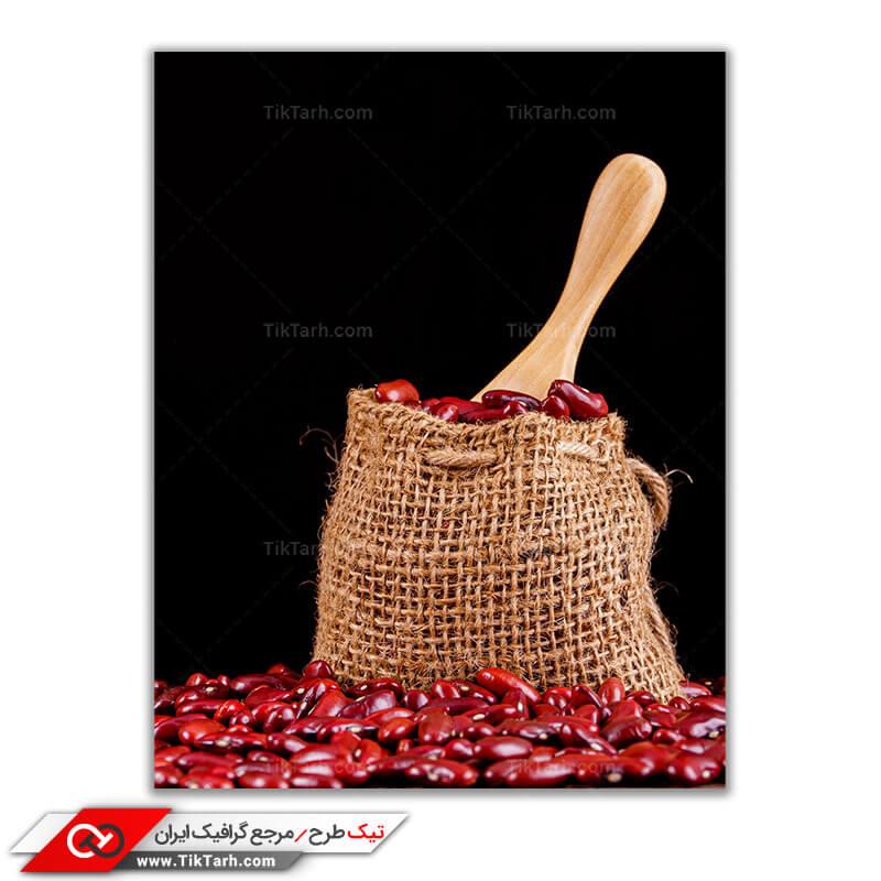 عکس گرافیکی لارج فرمت زیبا لوبیا قرمز در گونی