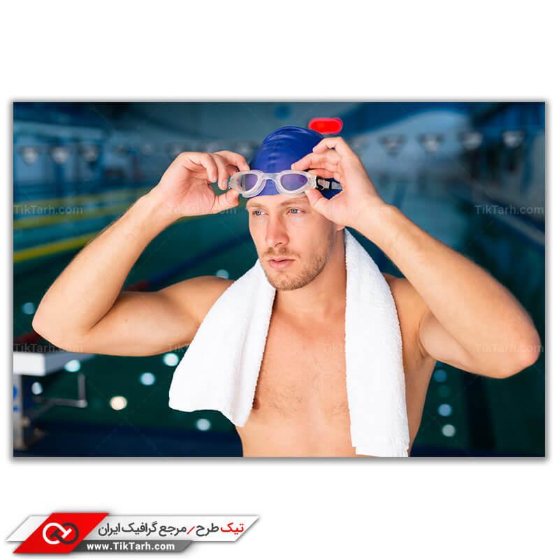 عکس باکیفیت از ورزشکار شنا باعینک