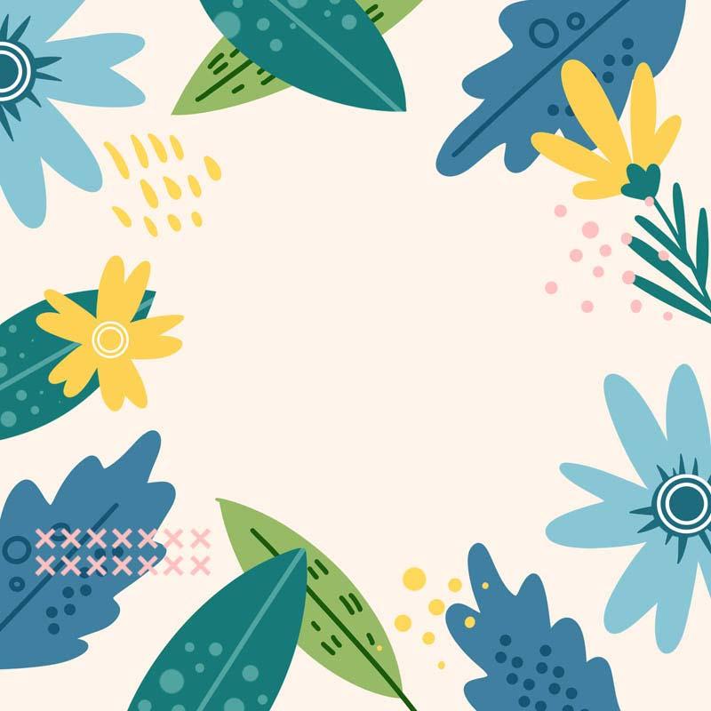 طرح لایه باز پس زمینه گل و برگ های پهن